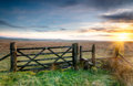 Bodmin moor a wooden gate leading on to open moorland on in cornwall Stock Image