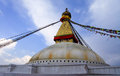 Bodnath stupa buddhist shrine boudhanath with buddha wisdom eyes and praying flags in kathmandu nepal Royalty Free Stock Photo