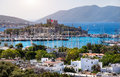 Bodrum castle and aegean sea view of marina harbor ancient in in turkey Royalty Free Stock Photo