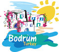 Bodrum illustration colorful of a very popular summer destination in turkey Stock Photo