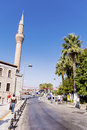 Bodrum turkey tipical turkish street with mosque empty Stock Photography
