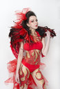 Body art carnival costume fire with the elements of Royalty Free Stock Photo