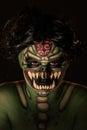 Body art of scary green monster