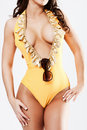 Body of babe in yellow bikini suite isolated Royalty Free Stock Photos