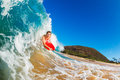 Body Boarder Surfing Stock Photo