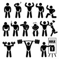 Body builder bodybuilder muscle man pictogram this is a set of people pictograms that represent poses workout and taking Royalty Free Stock Images