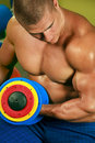 Body builder lifting weights Stock Photo