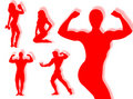 Body builder silhouette Stock Images