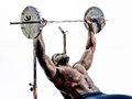 Body builders building weights man silhouette one muscular in on white background Royalty Free Stock Images