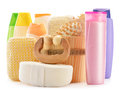 Body care accessories and beauty products on white Royalty Free Stock Photo