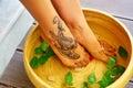 Body Care. Female Feet Spa Pedicure Procedure, Treatment. Basin, Bowl Royalty Free Stock Photo