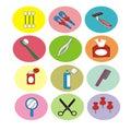 Body care tools icon set