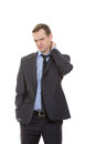 Body language. man dressed business suit isolated Royalty Free Stock Photo