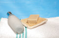 Body lotion bottle, soap and an exfoliation pad Royalty Free Stock Image