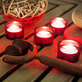Body massage with candlelight background Royalty Free Stock Photos