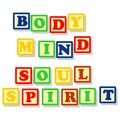 Body mind soul and spirit in color block conceptuals texts different colors isolated on white Royalty Free Stock Photo