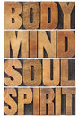 Body mind soul and spirit typography a collage of isolated words in vintage wood letterpress type scaled to a rectangle Royalty Free Stock Images