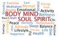 Body mind soul spirit word cloud on white background Stock Photo