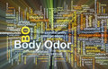Body odor background concept glowing wordcloud illustration of light Stock Photo