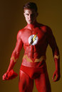 Body painted man as fantasy generic superhero red Royalty Free Stock Images