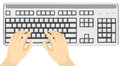Body part hands using keyboard illustration of isolated Royalty Free Stock Photography