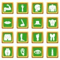 Body parts icons set green