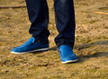 Body parts of a man with wearing shoes photograph human legs background Stock Images
