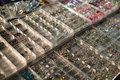 Body piercing jewelry in plastic cases Royalty Free Stock Photo
