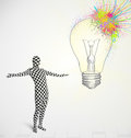 body suit morphsuit looking at abstract colorful lightbulb