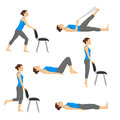 Body workout exercise fitness training set. Knee exercises Royalty Free Stock Photo