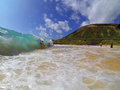 Bodyboarding Sandy Beach Hawaii Royalty Free Stock Photo