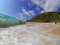 Bodyboarding Sandy Beach Hawaii Royalty Free Stock Photo