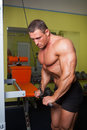 Bodybuilder excercise in fitness club handsome Royalty Free Stock Photography