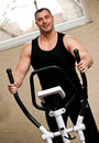 Bodybuilder exercising in gym Royalty Free Stock Photo