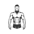 Bodybuilder Fitness Model Illustration. Aesthetic body
