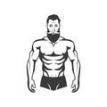 Bodybuilder Fitness Model Illustration. Aesthetic body