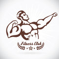 Bodybuilder fitness model illustration sign symbol button badge icon logo for family baby children teenager people tatt sport Royalty Free Stock Photo
