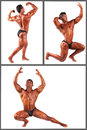 Bodybuilder flexing his muscles in studio set this image has attached release Stock Images