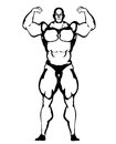 Bodybuilder illustration with black and white vector style lines Royalty Free Stock Photo