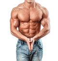 Bodybuilder isolated on white muscle man with perfect body Royalty Free Stock Images