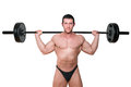 Bodybuilder lifting barbell shirtless isolated on white background fitness and sports Royalty Free Stock Photography
