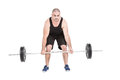 Bodybuilder lifting heavy barbell weights on white background Stock Images