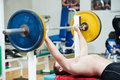 Bodybuilder lifting weight at sport gym Stock Photography