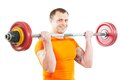 Bodybuilder man doing exercises with weight Royalty Free Stock Photo