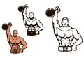 Bodybuilder man with dumbbell in cartoon style for sport or mascot design Stock Photography