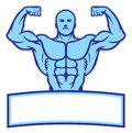 Bodybuilder mascot pose show his muscle vector of Stock Image