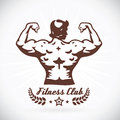 Bodybuilder model fitness illustration with brown color Stock Photos