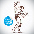 Bodybuilder model fitness illustration with brown color Royalty Free Stock Photography