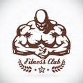 Bodybuilder model fitness illustration with brown color Stock Images