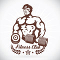 Bodybuilder model fitness illustration with brown color Royalty Free Stock Photos